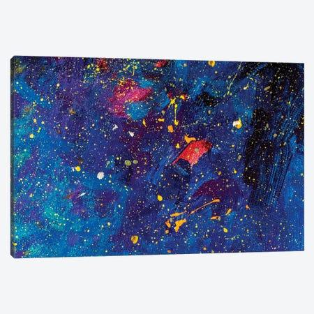 Beautiful Night Starry Sky, Blue Cosmos, Galaxy, Stars Canvas Print #VRY201} by Valery Rybakow Canvas Art