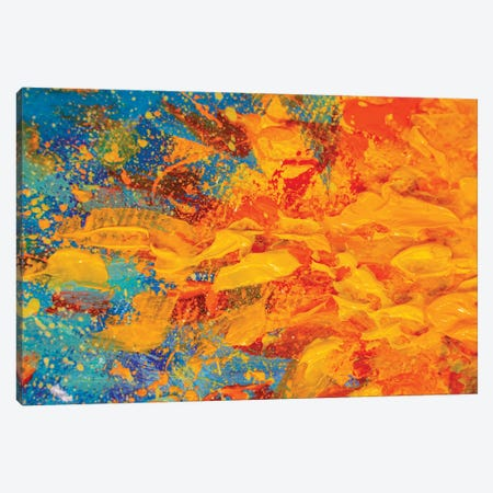 Flame Of Fire, Yellow Orange Bonfire On Blue Background Canvas Print #VRY202} by Valery Rybakow Canvas Wall Art