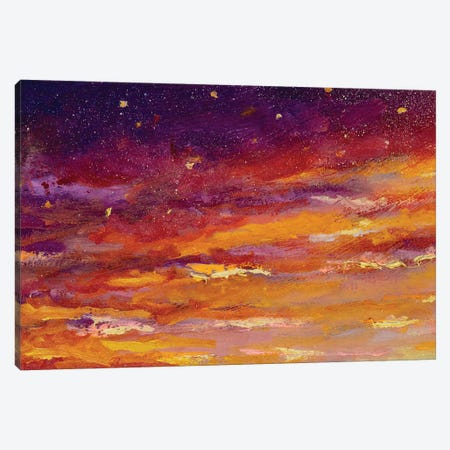 Beautiful Yellow Dawn Sunset Art And Purple Starry Night Sky Gradient 3-Piece Canvas #VRY206} by Valery Rybakow Canvas Print