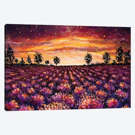 Purple Flowers Lavender Field Canvas Print #VRY209} by Valery Rybakow Canvas Wall Art