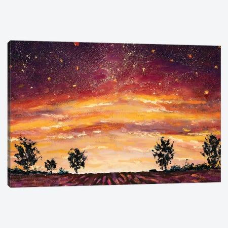 Impressionism Purple Lush Flowers At Sunset. Lavender Field, Warm Dawn Canvas Print #VRY210} by Valery Rybakow Art Print