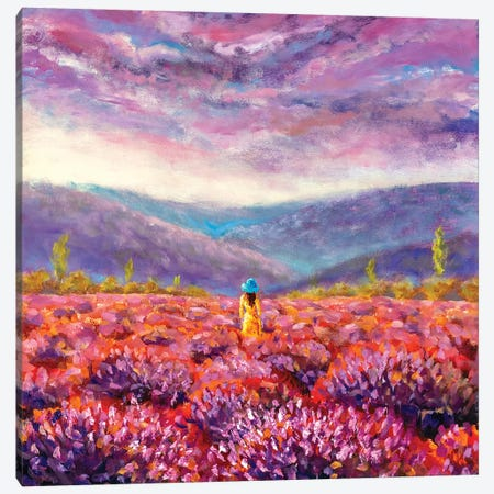 Beautiful Girl In A Yellow Dress Stands In A Flower Field, Lavender Field Canvas Print #VRY212} by Valery Rybakow Art Print