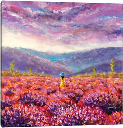 Beautiful Girl In A Yellow Dress Stands In A Flower Field, Lavender Field Canvas Art Print