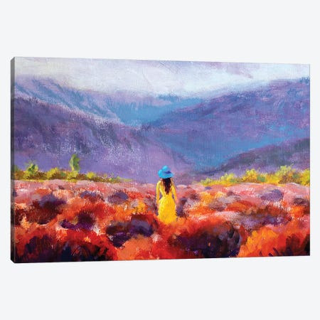 Beautiful Girl In Yellow Dress Stands In Lavender Field Canvas Print #VRY215} by Valery Rybakow Canvas Artwork
