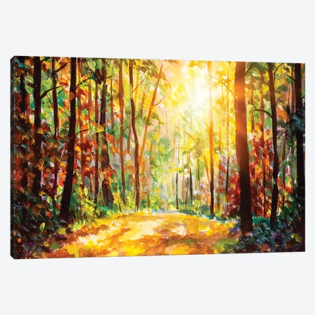 Vivid Morning In Colorful Forest Canvas Print #VRY231} by Valery Rybakow Canvas Print