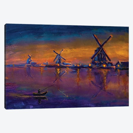 Morning Fishing On Background Of Old Windmills Canvas Print #VRY232} by Valery Rybakow Canvas Print