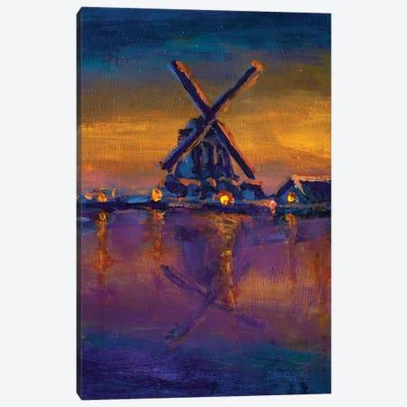 Dawn Over Windmill River Farmland Landscape Canvas Print #VRY233} by Valery Rybakow Canvas Art Print