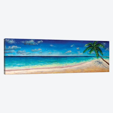 Painting Tropical Paradise Beach With White Sand And Coco Palms Canvas Print #VRY234} by Valery Rybakow Canvas Artwork