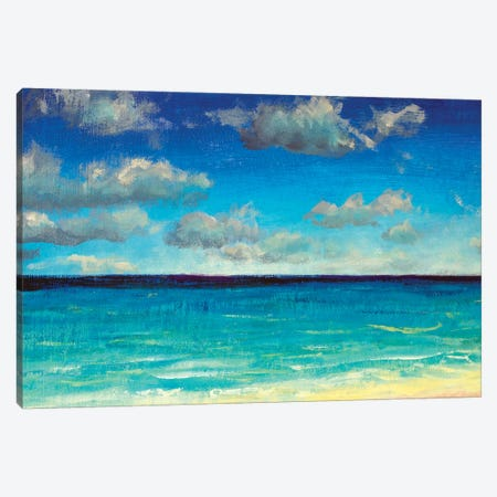 Beautiful Turquoise Sea And Blue Sky, Clouds Canvas Print #VRY235} by Valery Rybakow Canvas Wall Art