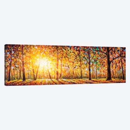 Extra Wide Panorama Of Gorgeous Forest In Autumn Canvas Print #VRY239} by Valery Rybakow Canvas Print
