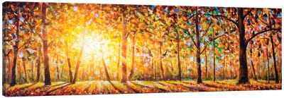 Extra Wide Panorama Of Gorgeous Forest In Autumn Canvas Art Print
