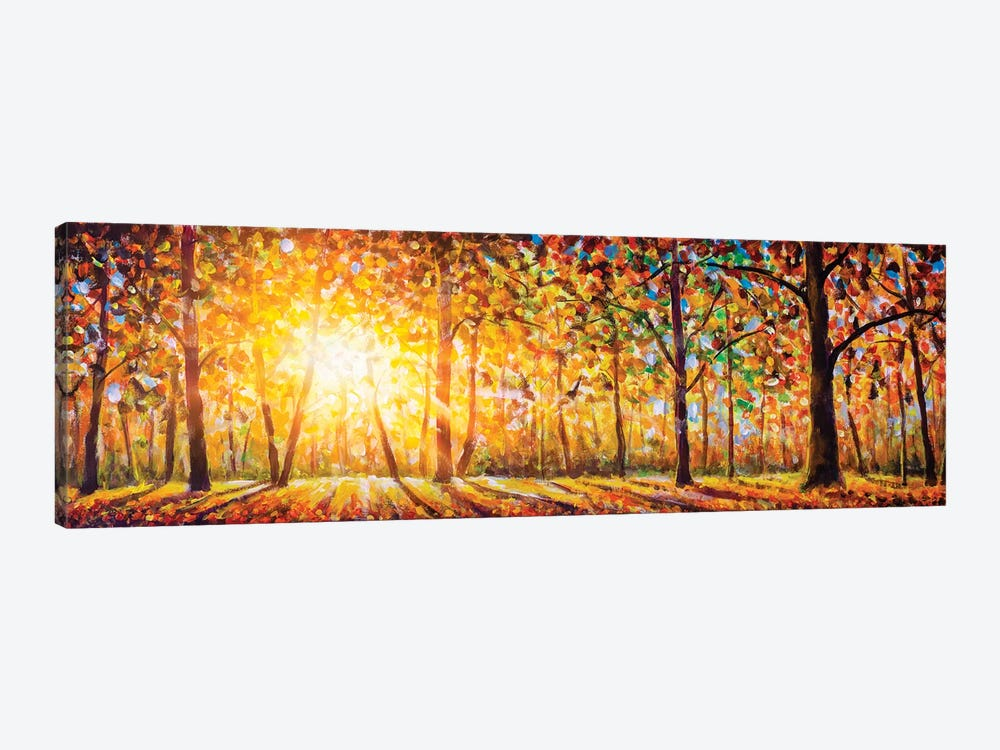 Extra Wide Panorama Of Gorgeous Forest In Autumn by Valery Rybakow 1-piece Canvas Art Print