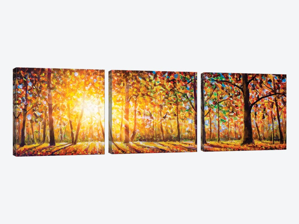 Extra Wide Panorama Of Gorgeous Forest In Autumn by Valery Rybakow 3-piece Canvas Print
