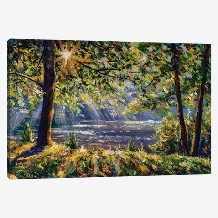Walk In Sunny Sunlight Forest Woods Painting. Pleasant Weather. Sun Rays Play In The Branches Of Trees. Canvas Print #VRY244} by Valery Rybakow Art Print