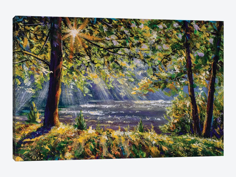 Walk In Sunny Sunlight Forest Woods Painting. Pleasant Weather. Sun Rays Play In The Branches Of Trees. by Valery Rybakow 1-piece Canvas Art Print