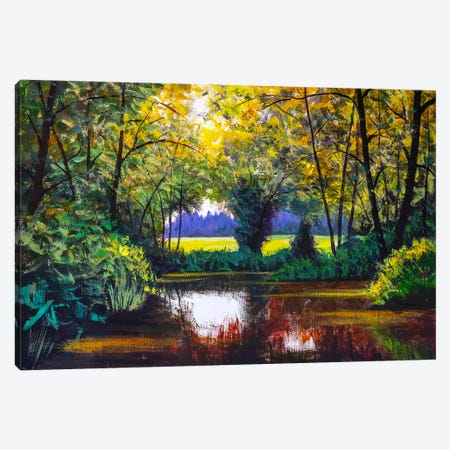 Original Oil Painting River Lake Pond Sea In Sunny Sun Sunlight Forest Wood Trees Impressionism Landscape Canvas Print #VRY245} by Valery Rybakow Art Print