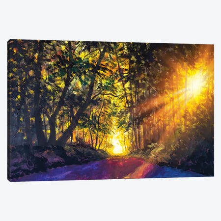 Oil Painting Fine Art Warm And Sunny Day And Beautiful Magic Forest Path Canvas Print #VRY246} by Valery Rybakow Canvas Print