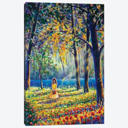 Little Girl In Sunny Sunlight Flowers Forest Canvas Print #VRY269} by Valery Rybakow Canvas Wall Art