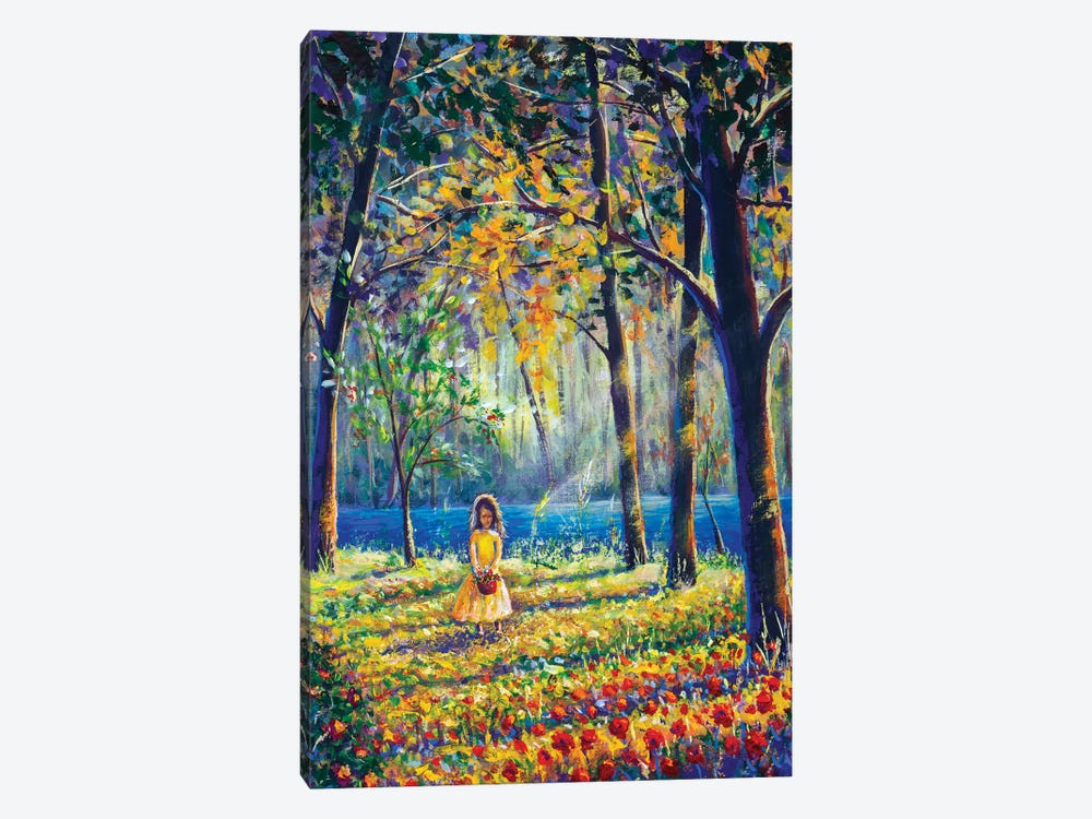 Little Girl In Sunny Sunlight Flowers Forest by Valery Rybakow 1-piece Canvas Wall Art