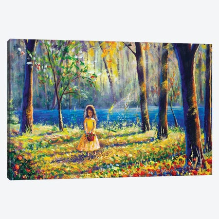 Beautiful Little Girl In Sunny Sunlight Flowers Forest Park Canvas Print #VRY270} by Valery Rybakow Canvas Print