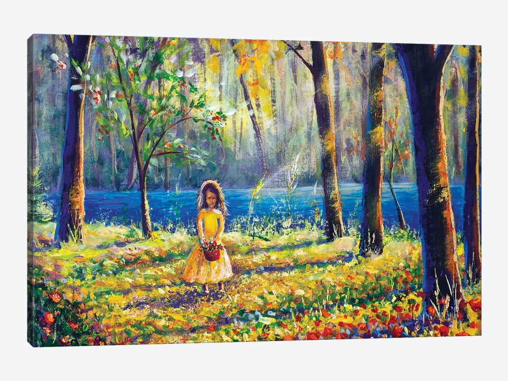 Beautiful Little Girl In Sunny Sunlight Flowers Forest Park by Valery Rybakow 1-piece Canvas Wall Art