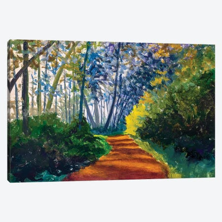 Road Footpath In Sunny Spring Forest Canvas Print #VRY271} by Valery Rybakow Canvas Art Print