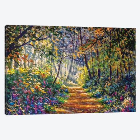 Sunny Footpath Road In Forest Park Canvas Print #VRY272} by Valery Rybakow Canvas Print