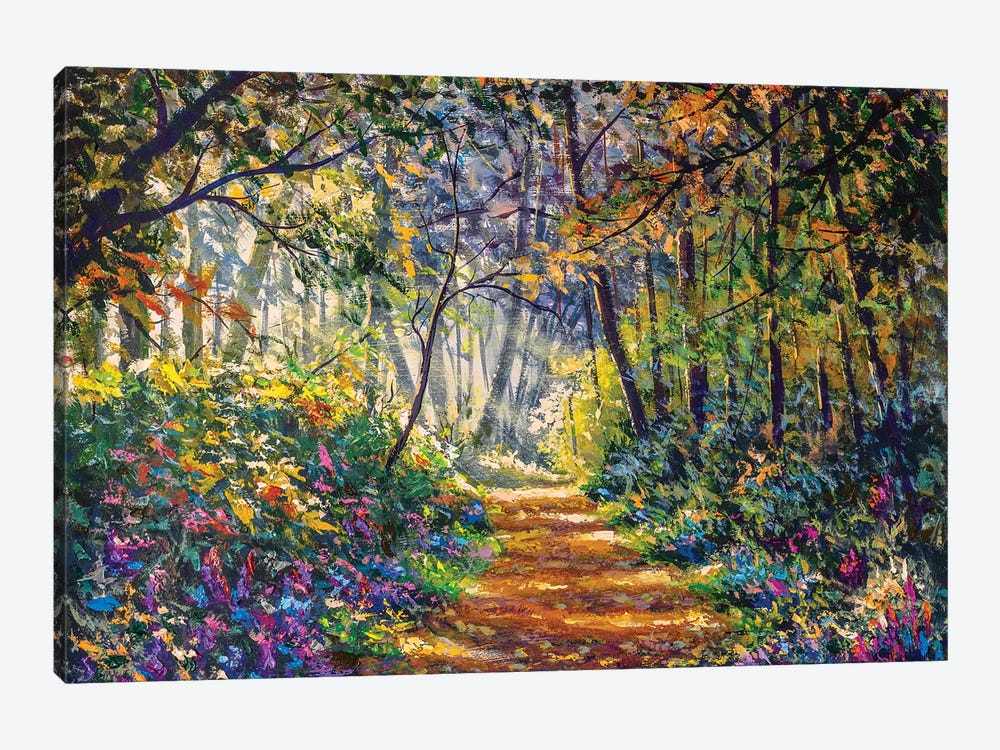 Sunny Footpath Road In Forest Park by Valery Rybakow 1-piece Canvas Wall Art