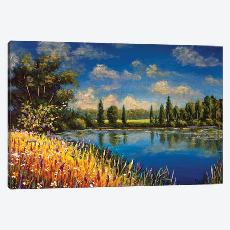 Beautiful Autumn Field Of Flowers Near Pond Lake River Canvas Print #VRY276} by Valery Rybakow Canvas Wall Art