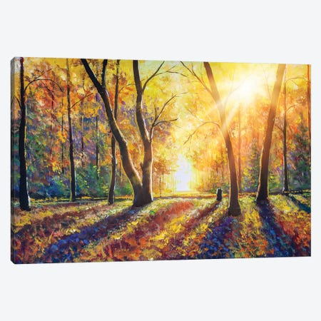 Sunny Autumn Dark Trees In Gold Autumn Forest Park Wood Alley Impressionism Art Canvas Print #VRY278} by Valery Rybakow Canvas Print