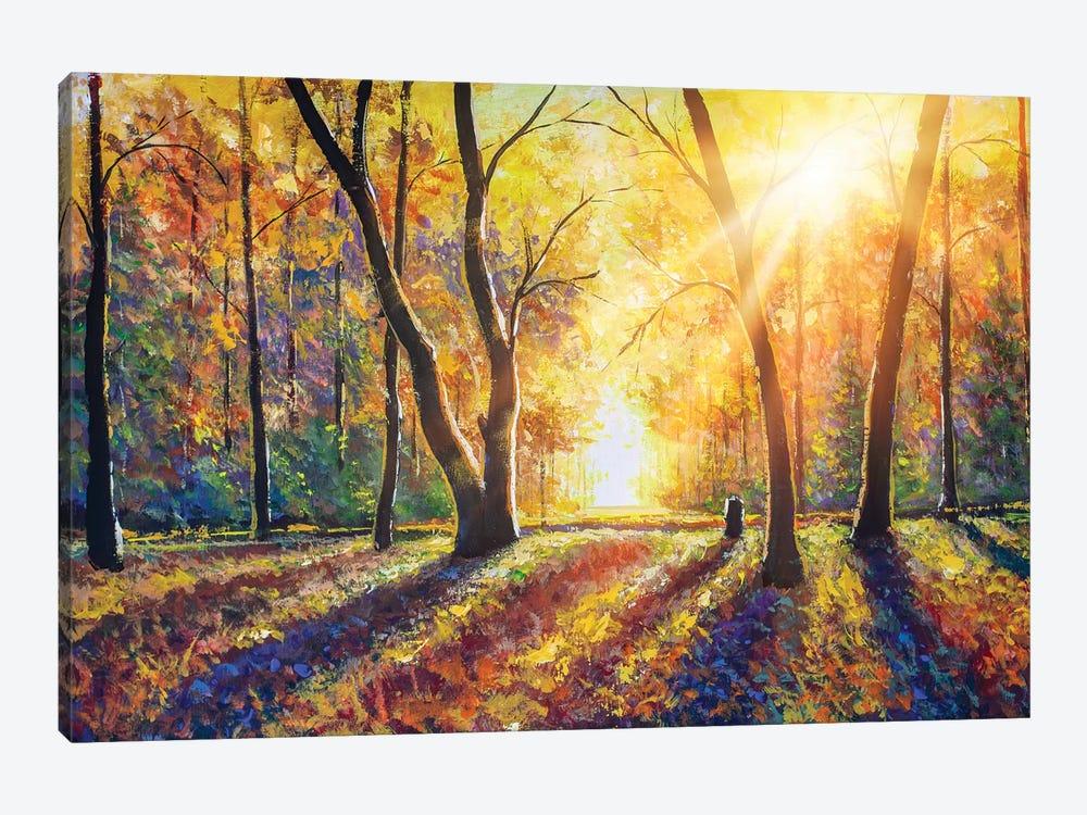 Sunny Autumn Dark Trees In Gold Autumn Forest Valery Rybakow Icanvas