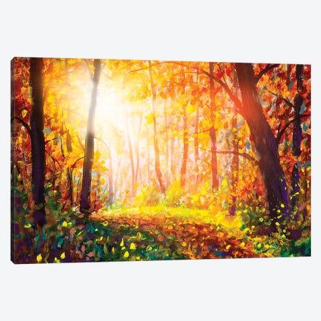Footpath Through Foggy Forest In Autumn Illuminated By Sunbeams Canvas Print #VRY279} by Valery Rybakow Art Print