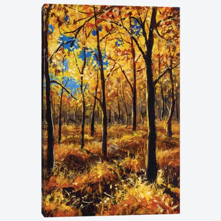 Beautiful Autumn Trees In Gold Warm Orange Autumn Forest Park Alley Canvas Print #VRY282} by Valery Rybakow Canvas Art