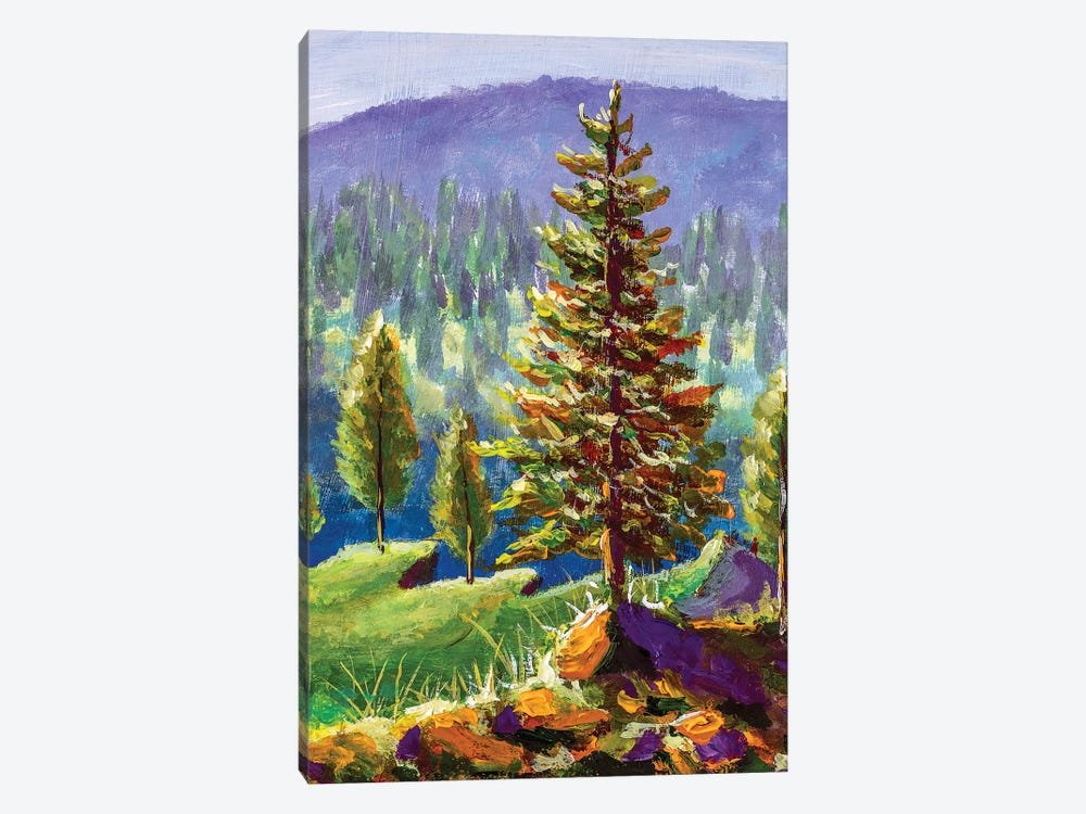 Big Pine On Background Of Sunny Forest And Mountains by Valery Rybakow 1-piece Art Print