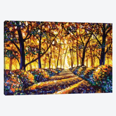 Gold Orange Autumn Road In Forest Landscape Canvas Print #VRY285} by Valery Rybakow Canvas Print