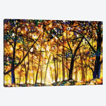 Gold Orange Autumn Forest Landscape Canvas Print #VRY286} by Valery Rybakow Canvas Print