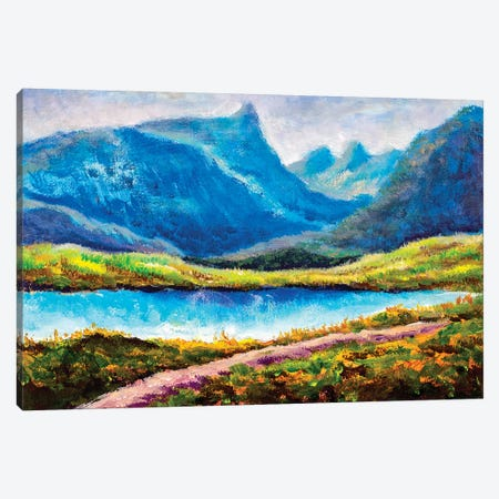 Beautiful Lake In Mountains Canvas Print #VRY287} by Valery Rybakow Canvas Art Print
