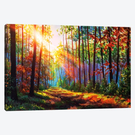 Amazing Autumn Forest In Morning Sunlight. Canvas Print #VRY289} by Valery Rybakow Canvas Wall Art