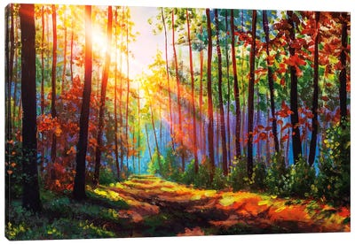 Amazing Autumn Forest In Morning Sunlight. Canvas Art Print