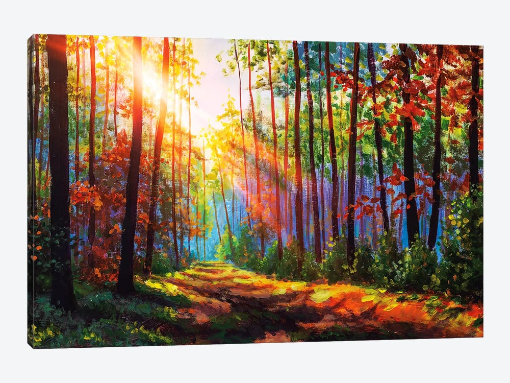 Amazing Autumn Forest In Morning Sunlight. by Valery Rybakow 1-piece Canvas Artwork