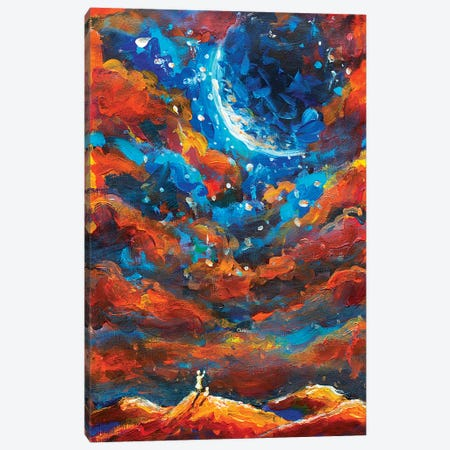 Dream Girl And Cat Look To Big Planet Canvas Print #VRY28} by Valery Rybakow Canvas Art