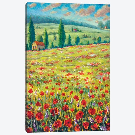High Cypresses, Field Of Red Poppies, Old Village Houses, Road, Mountains And Blue Sky Canvas Print #VRY290} by Valery Rybakow Canvas Art Print
