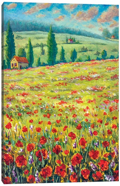 High Cypresses, Field Of Red Poppies, Old Village Houses, Road, Mountains And Blue Sky Canvas Art Print