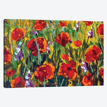Red Poppies Tulips Rose Flowers In Green Grass Palette Knife Painting Canvas Print #VRY293} by Valery Rybakow Canvas Art Print