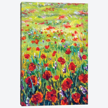 Red And Purple Flowers In Yellow Grass 3-Piece Canvas #VRY294} by Valery Rybakow Canvas Artwork