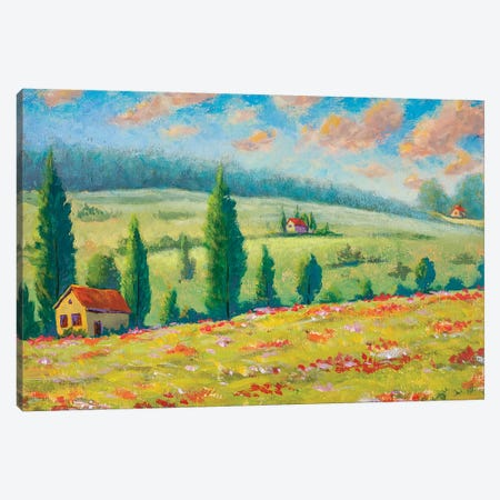 Beautiful Houses In Flower Mountains Oil Painting Canvas Print #VRY295} by Valery Rybakow Canvas Art