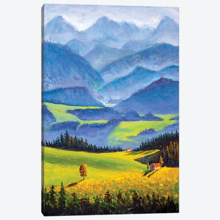 Small Village Houses On Sunny Flower Meadows In High Mountains Canvas Print #VRY296} by Valery Rybakow Canvas Art