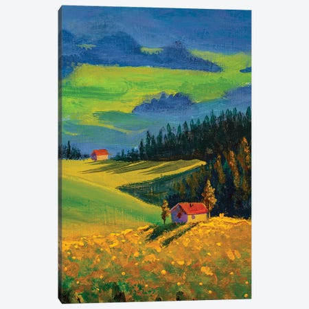 Country Houses On Beautiful Slopes In Meadows Canvas Print #VRY298} by Valery Rybakow Art Print
