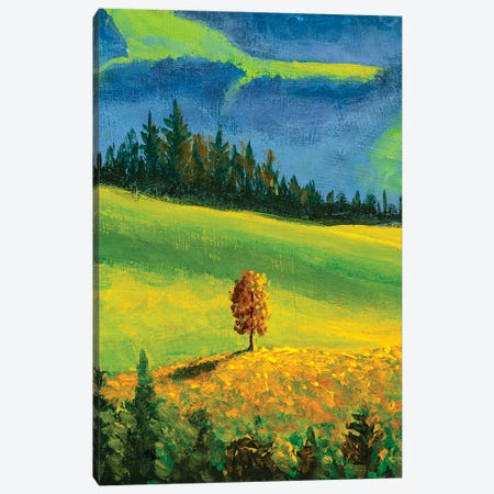 Beautiful Autumn Tree On Hill In Mountain Canvas Print #VRY299} by Valery Rybakow Canvas Print