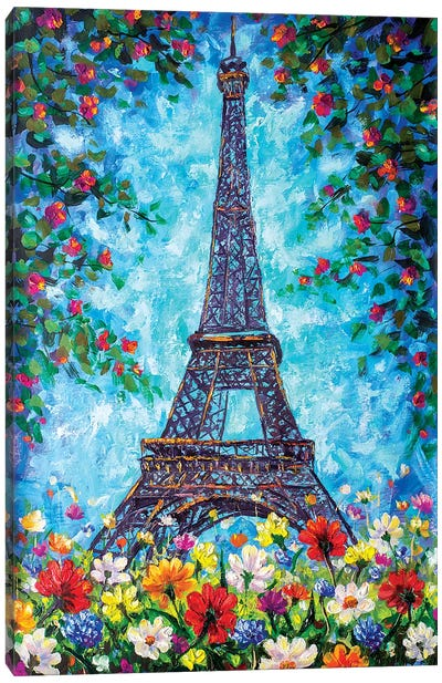 Eiffel Tower In Spring Flowers Canvas Art Print